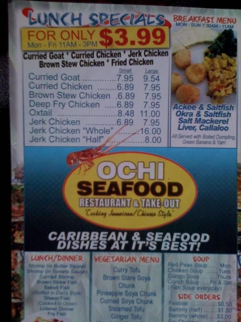 Ochi Seafood Restaurant Take Out Lauderhill Menu