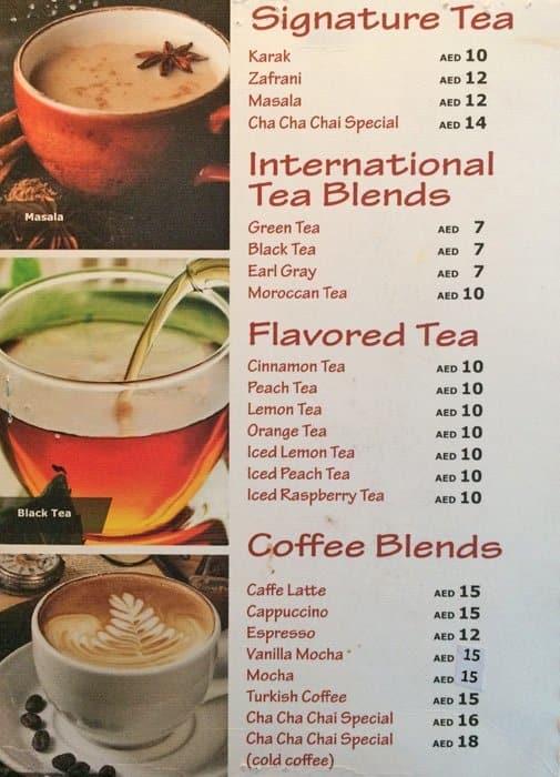 Cha Cha Chai Cafe Menu Menu For Cha Cha Chai Cafe Al