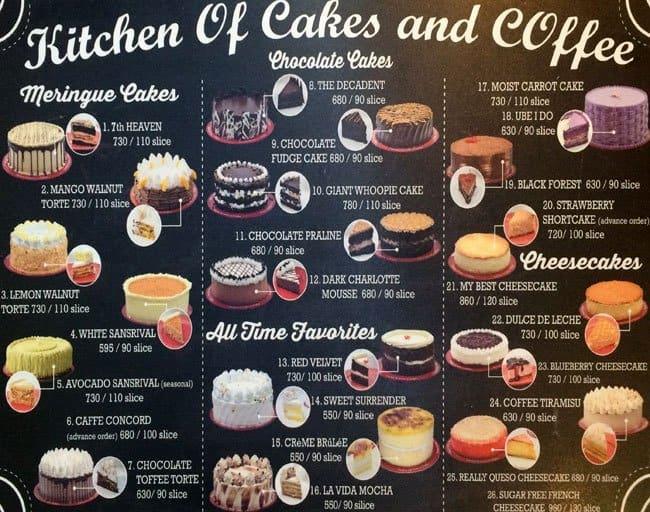 Bake A Wish Cake Menu