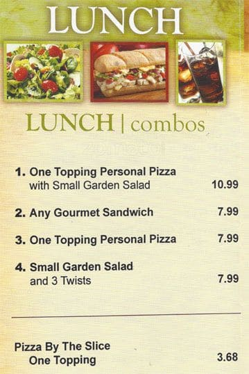 Superior Scanned Menu For Round Table Pizza