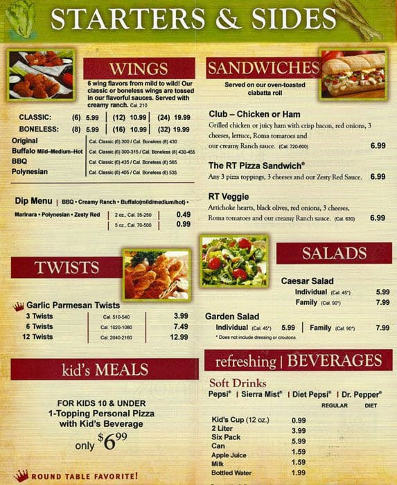Round table pizza menu menu for round table pizza for Table menu restaurant