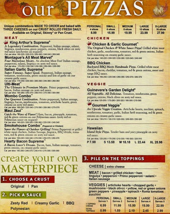 Scanned Menu For Round Table Pizza