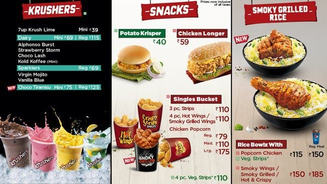 kfc menu, menu for kfc, new market area, kolkata - zomato