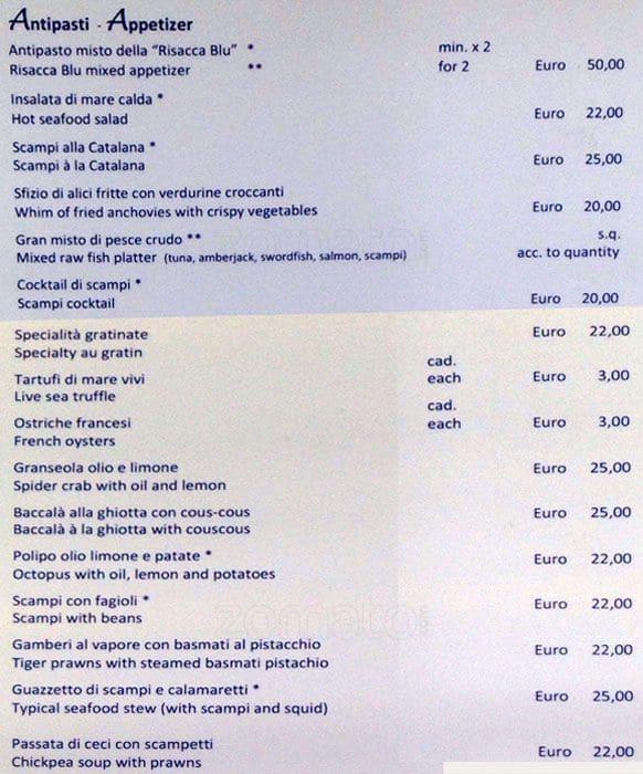La Risacca Blu A Milano Foto Del Menu Con Prezzi Zomato Italia
