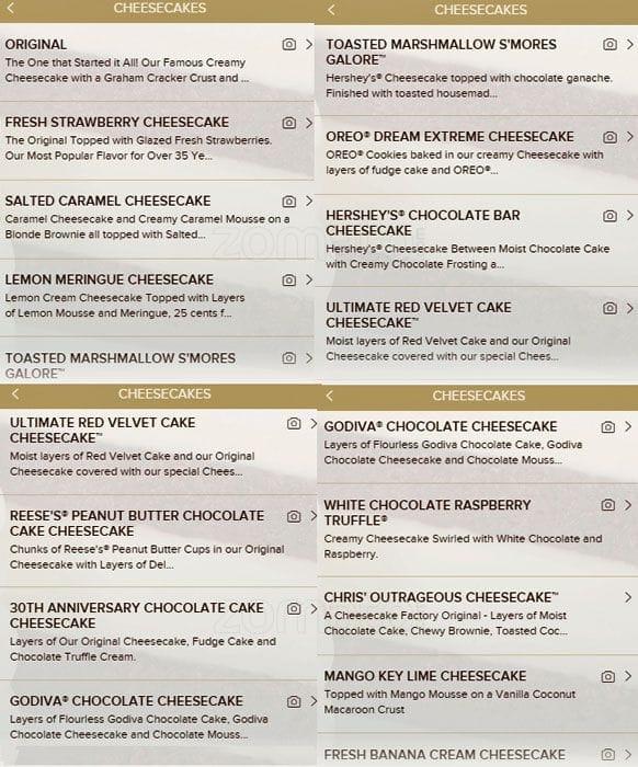 cheesecake factory cake menu