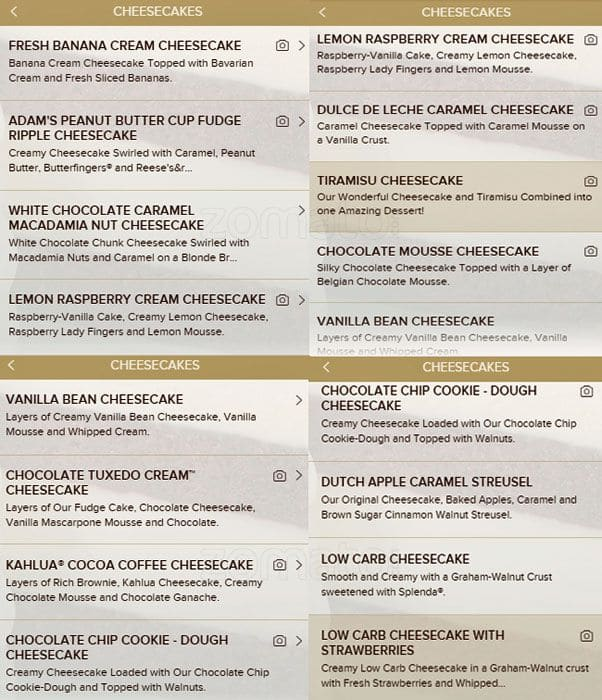 picture relating to Corner Bakery Printable Menu referred to as The Cheesecake Manufacturing facility Menu, Menu for The Cheesecake Manufacturing facility