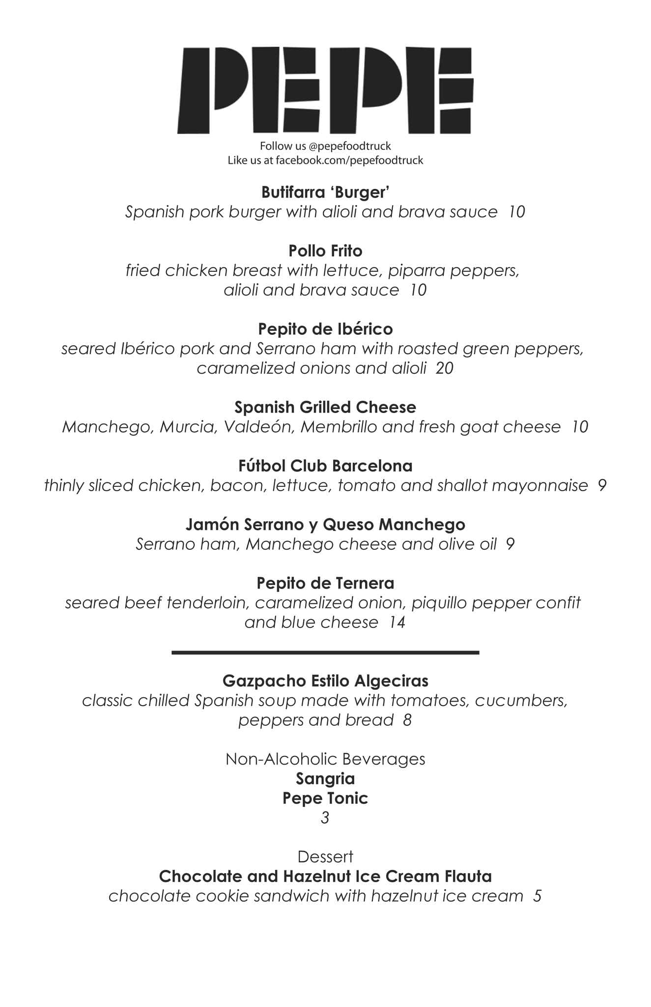 Pepe Food Truck Menu, Menu for Pepe Food Truck, Downtown, Washington Dc Food Truck Map on