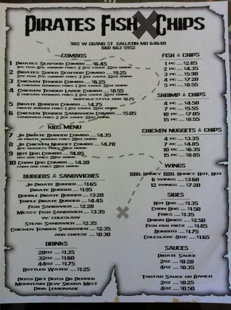 pirates fish x chips menu menu for pirates fish x chips