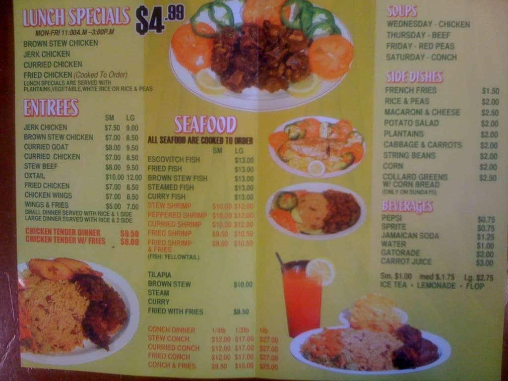 Lorna 39 s caribbean american restaurant menu urbanspoon for American cuisine menu