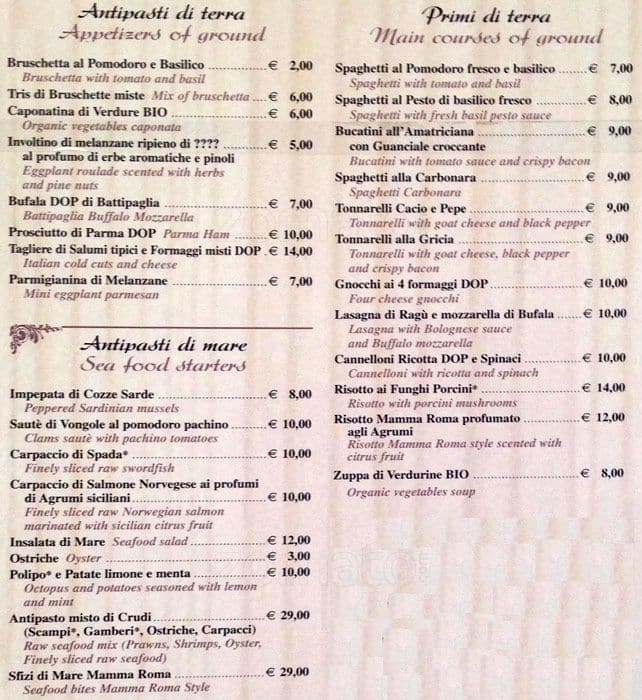 Mamma Roma Menu Menu For Mamma Roma Navona Pantheon