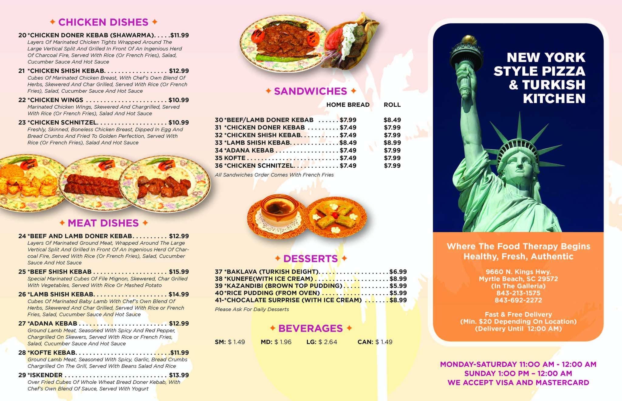 New York Style Pizza Myrtle Beach Menu