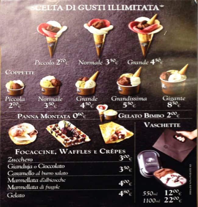 Fiori Chiari 9.Menu At Amorino Restaurant Milan Via Fiori Chiari 9
