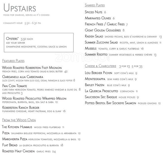 The Kitchen Upstairs, Boulder Menu