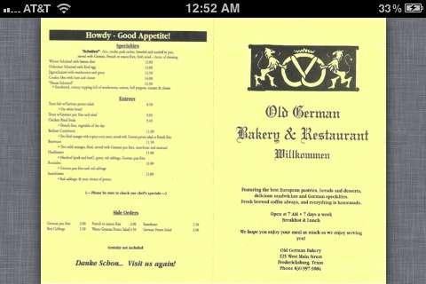 Old German Bakery Restaurant Menu Urbanspoonzomato