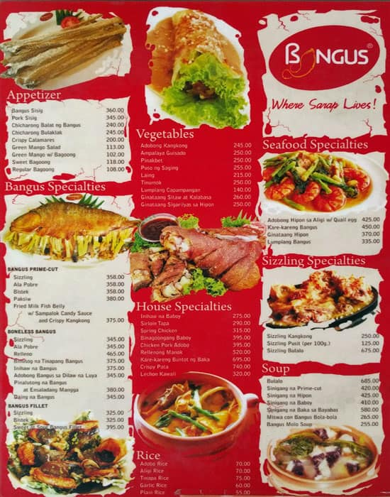 Bangus Specialty Restaurant Mall Of Asia Complex Moa Menu