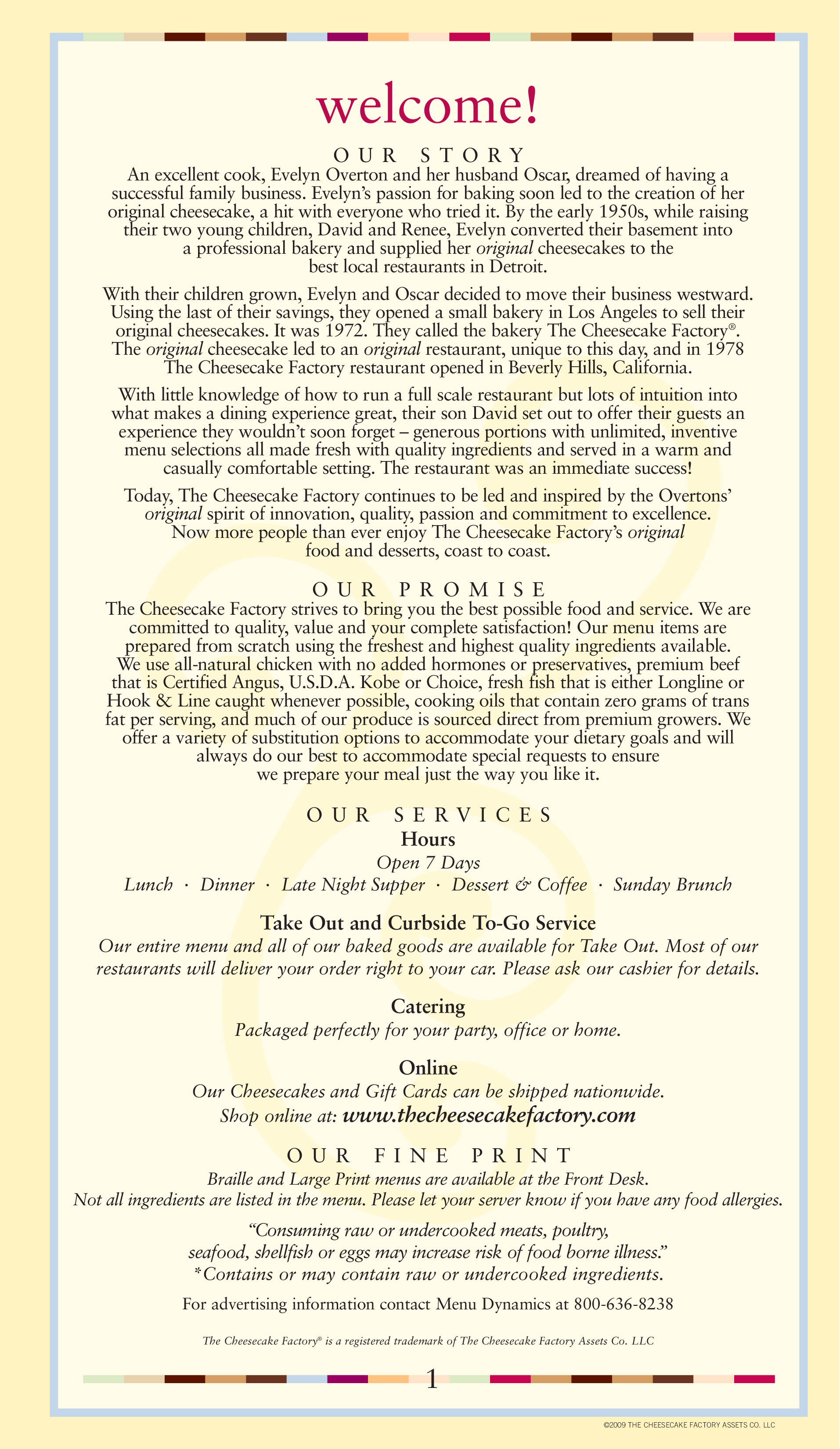 Mesmerizing image for printable cheesecake factory menu