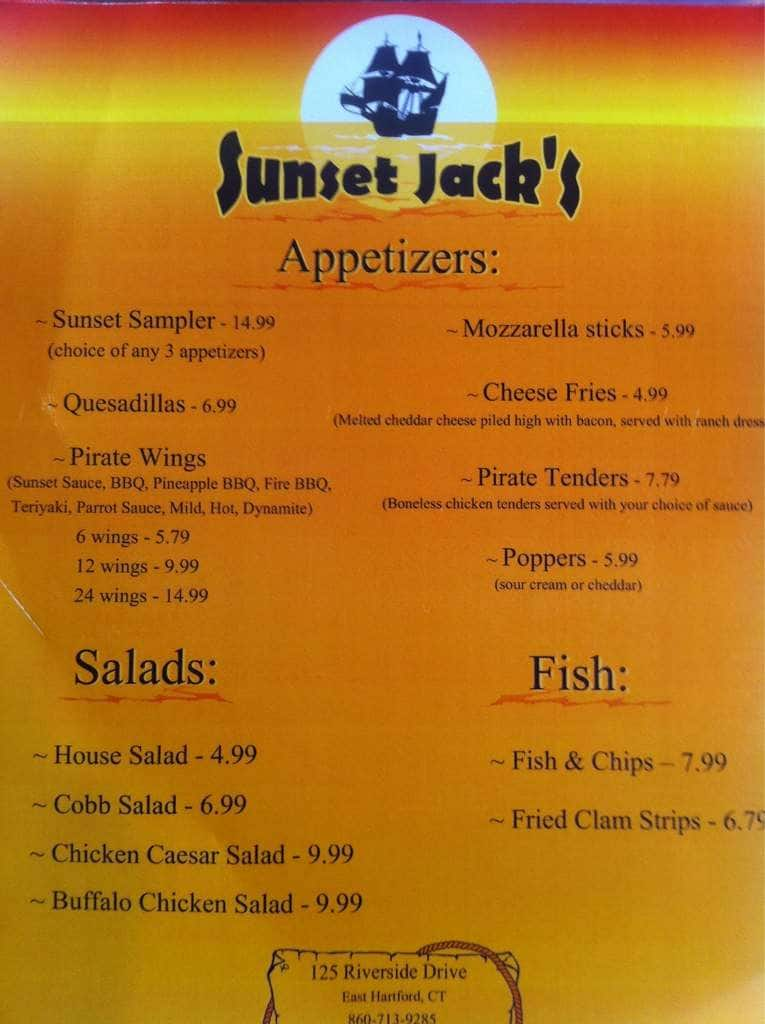 Sunset Jacks Menu Menu For Sunset Jacks East Hartford