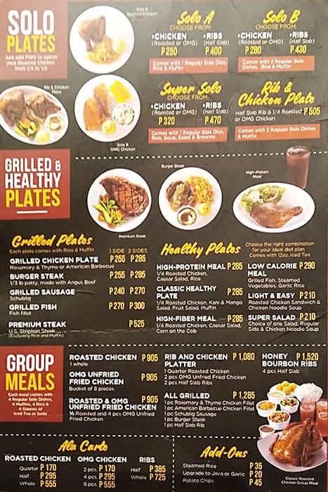 Kenny Rogers Roasters Menu Menu For Kenny Rogers Roasters Ortigas Quezon City
