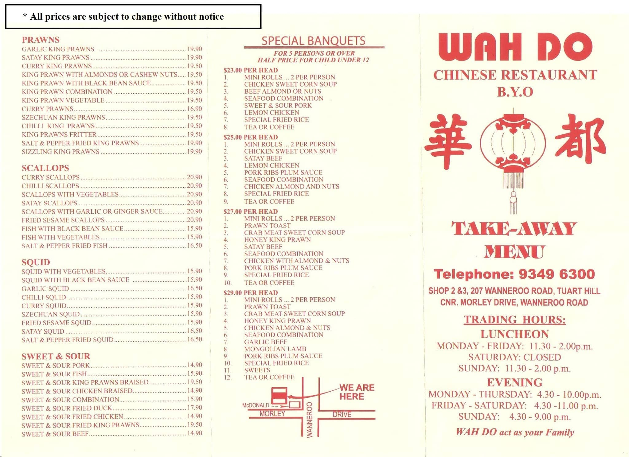 Menu at wah do chinese restaurant tuart hill for Asian cuisine menu