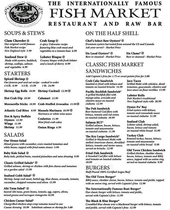 Fish market menu menu for fish market alexandria for J j fish menu