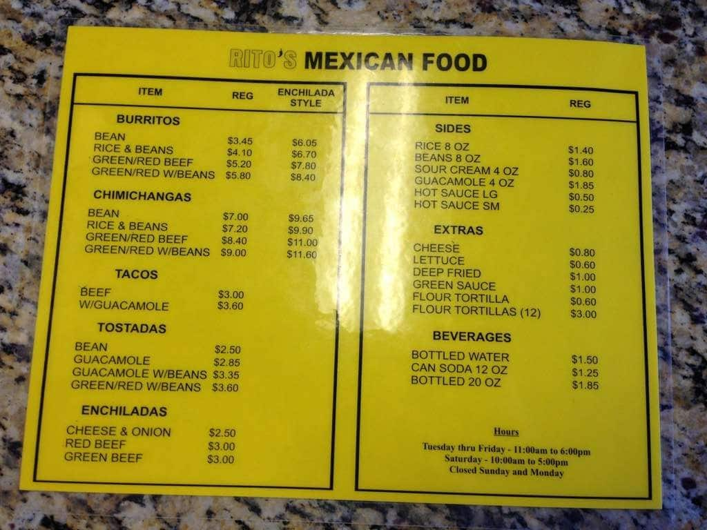 Ritos Mexican Food Menu