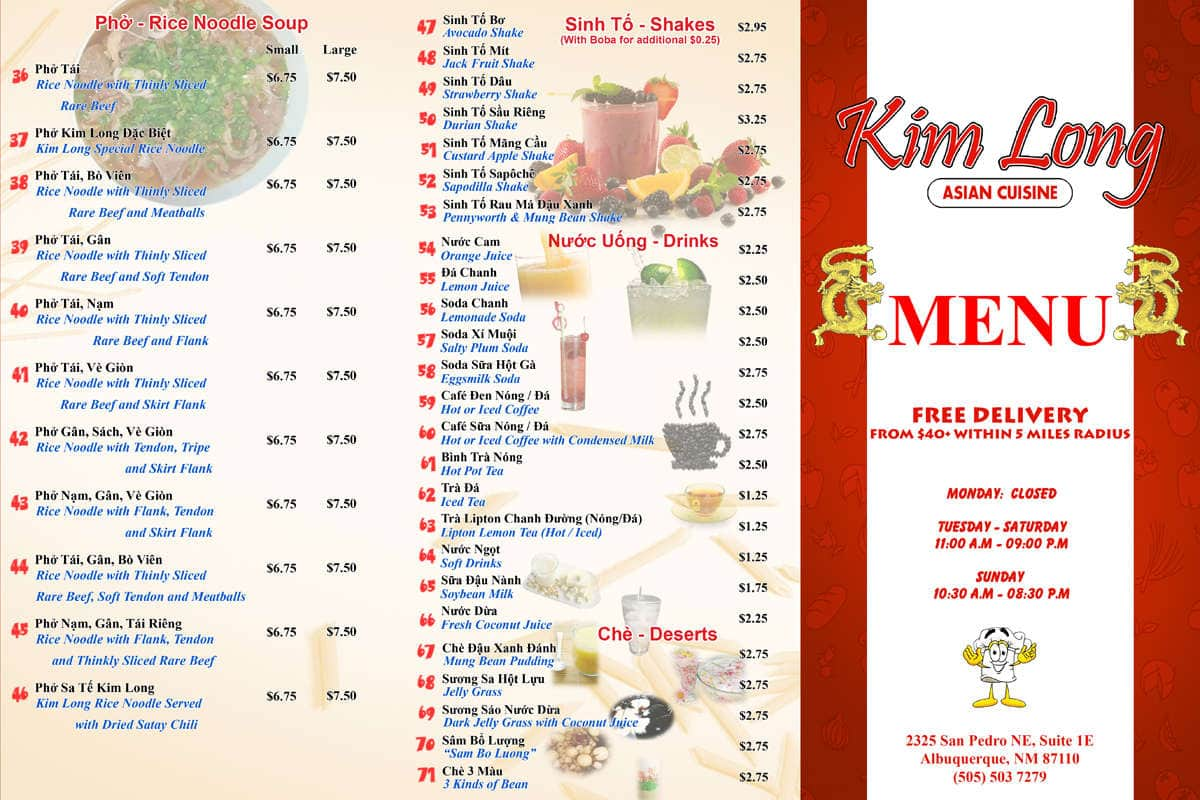 Kim long asian cuisine menu menu for kim long asian for Asia asian cuisine menu