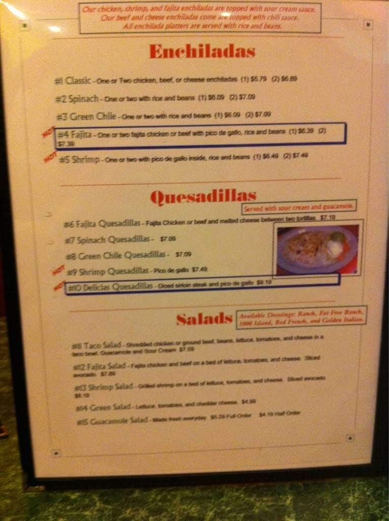 Delicias Mexican Restaurant Menu Urbanspoonzomato