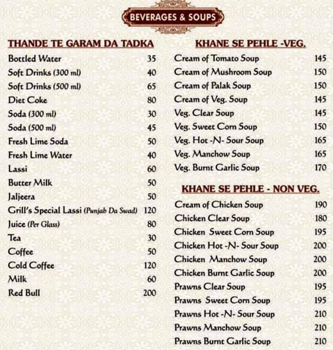 Punjab Restaurant Dehradun Menu Card