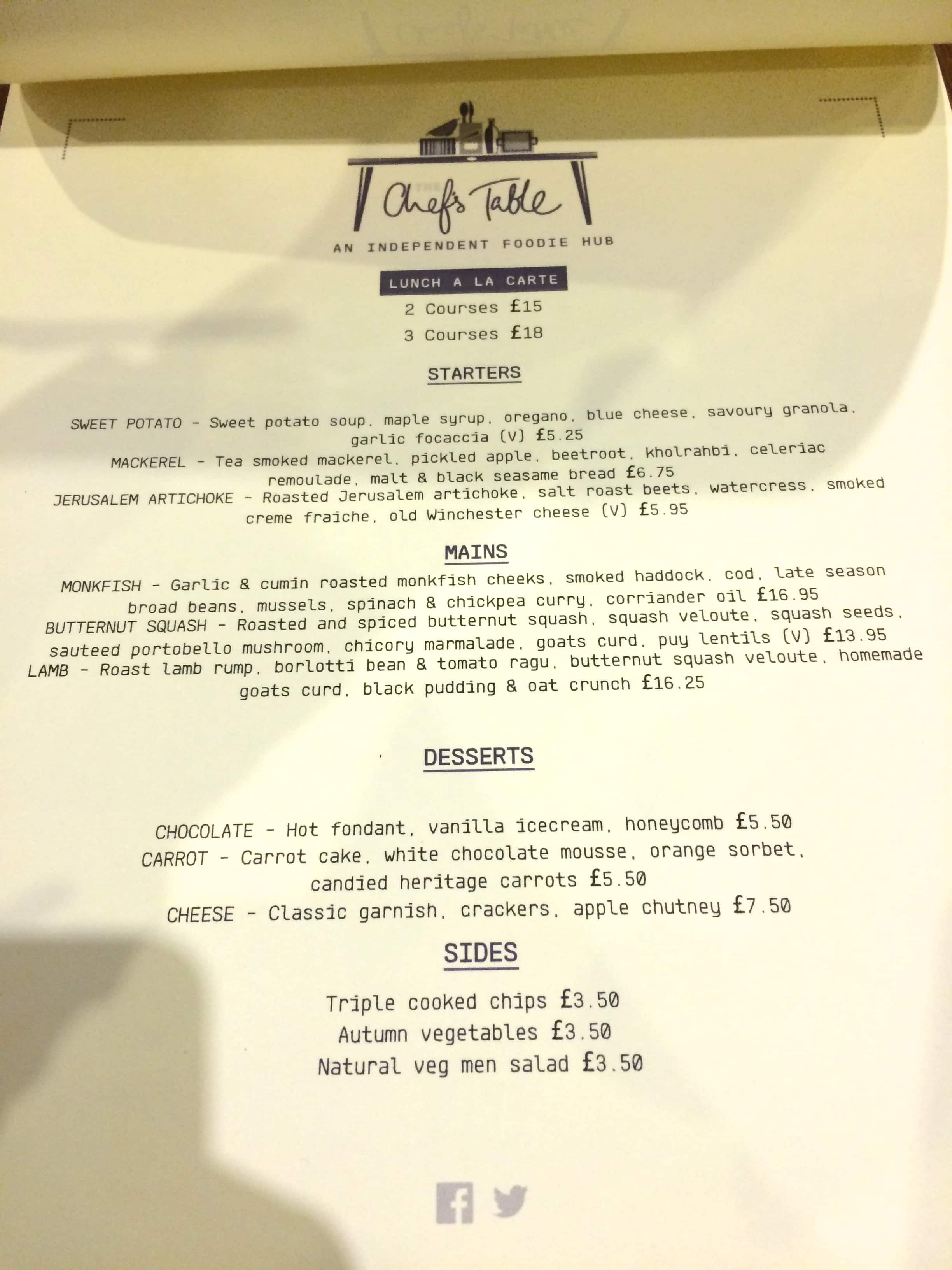 Menu at chef 39 s table restaurant chester for Table menu restaurant