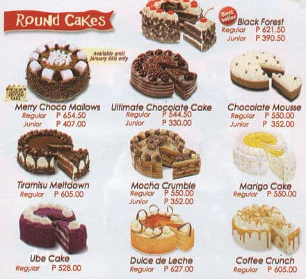 Price List Of Cake In Red Ribbon