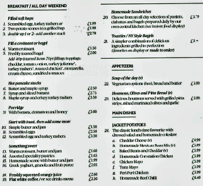 Grosvenor Cafe Menu