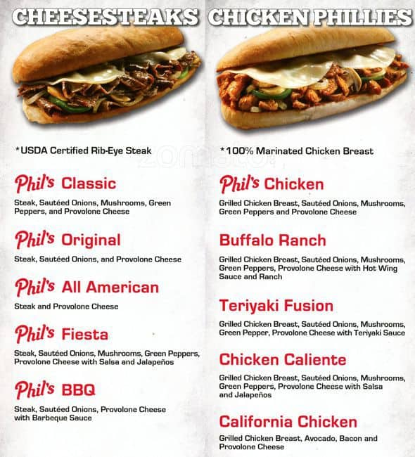 Phil 39 s philly grill menu menu for phil 39 s philly grill for Phil s fish grill