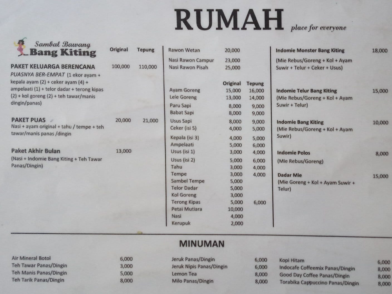 Promo Sambal Bawang Putih Terbaru 2018 Baju Pria Minion Stuart Koboi Rumah Pak Kriting Menu Zomato Indonesia Cempaka
