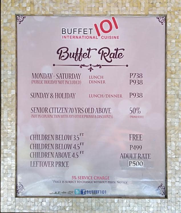 buffet 101 menu menu for buffet 101 new manila quezon city rh zomato com