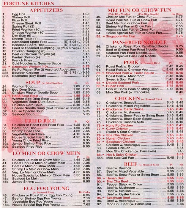 The Restaurant Information Including The Fortune Kitchen Menu Items And  Prices May Have Been Modified Since The Last Website Update.