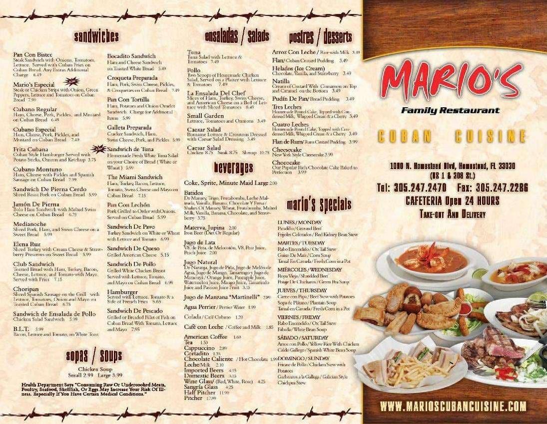 Mario S Family Restaurant Menu Urbanspoon Zomato