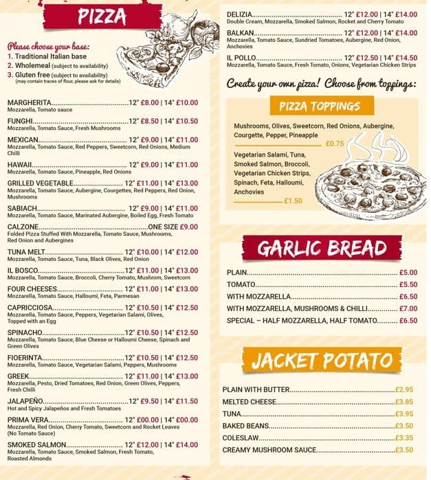 Mozzarella Menu Menu For Mozzarella Prestwich Manchester