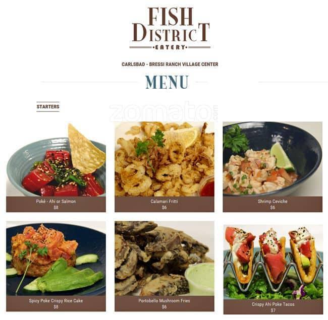 Fish district menu menu for fish district carlsbad san for Two fish menu