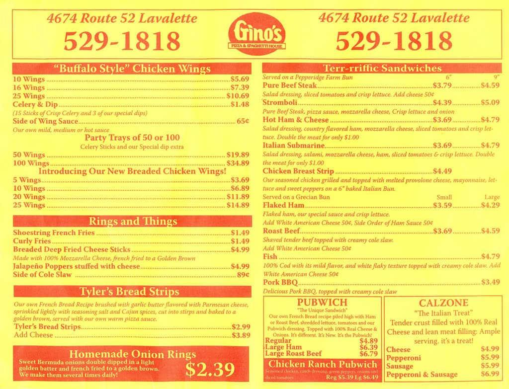 menu at gino's pizza & spaghetti house restaurant, huntington, wv-152