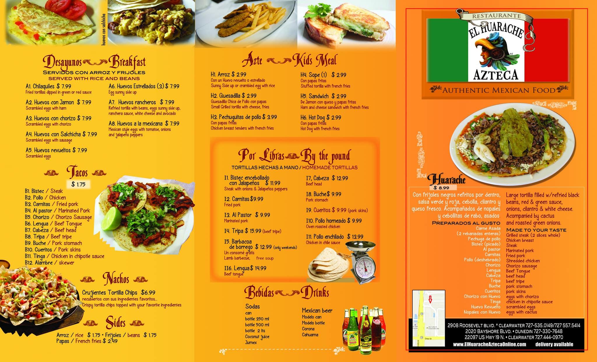 El Huarache Azteca 3 Menu