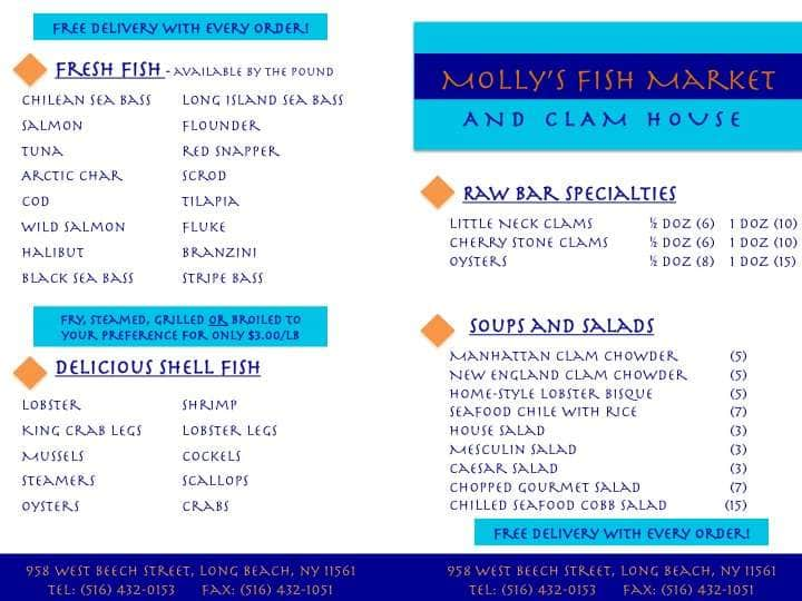 Molly 39 s fish house a long island foto del menu con prezzi for Fish house menu