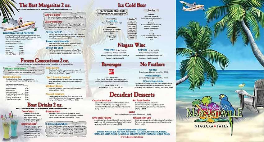 Margaritaville Grand Turk Drink Menu