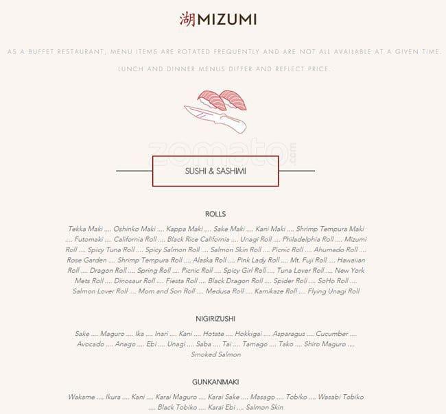mizumi menu menu for mizumi douglaston new york city urbanspoon rh zomato com  mizumi buffet price tigard