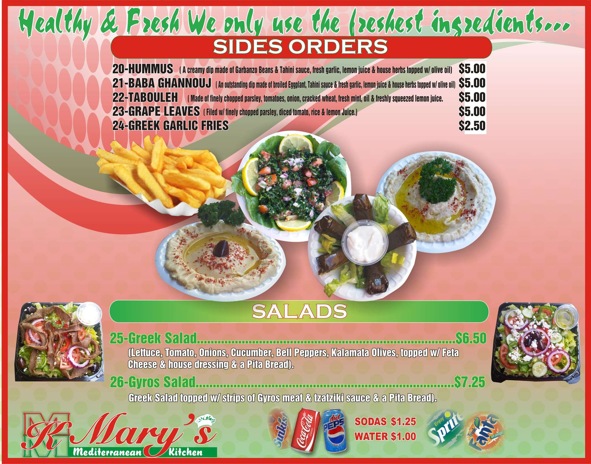 Mary's Mediterranean Kitchen Menu