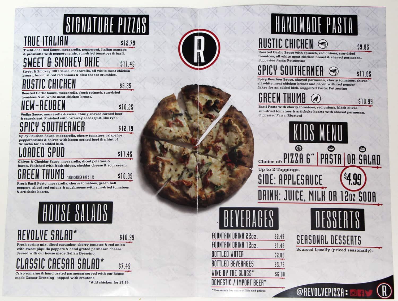 Revolve Pizza Kitchen Menu, Menu for Revolve Pizza Kitchen, Suburban ...