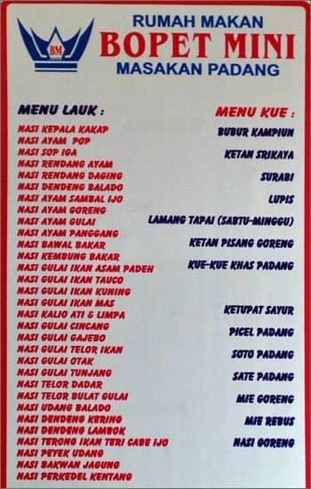 Bopet Mini Menu, Menu for Bopet Mini, Bendungan Hilir, Jakarta - Zomato Indonesia