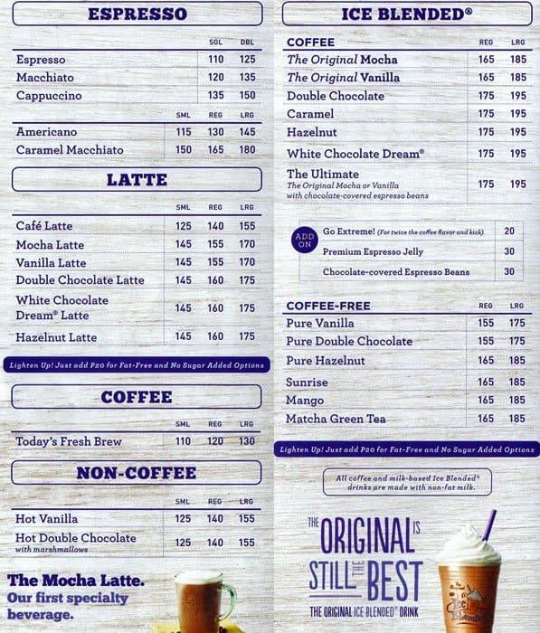 The Coffee Bean & Tea Leaf Menu - Zomato Philippines