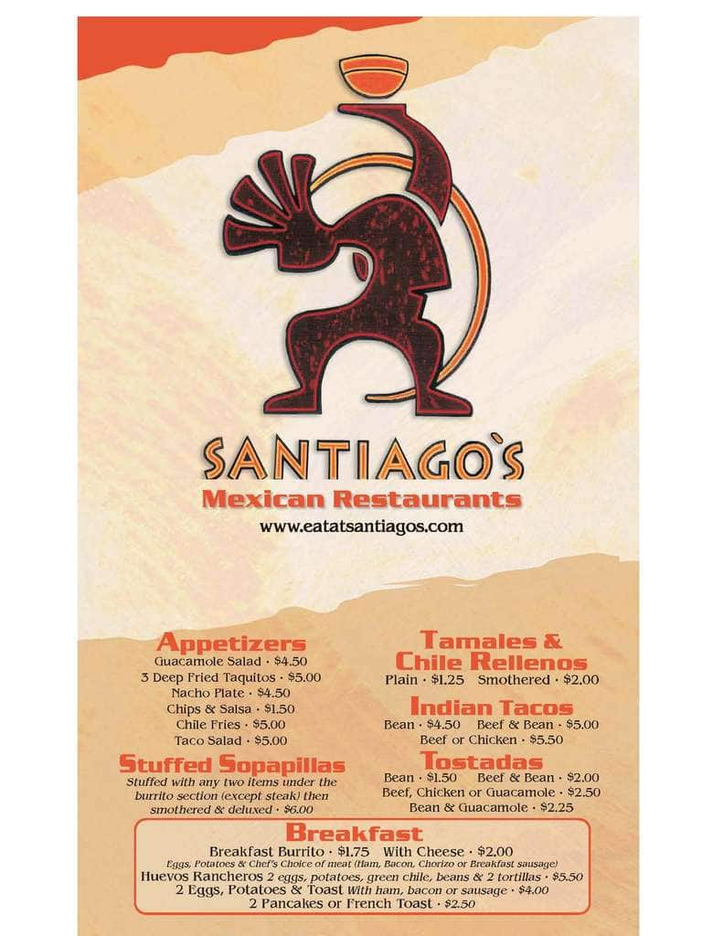 Santiago S Mexican Menu Menu For Santiago S Mexican