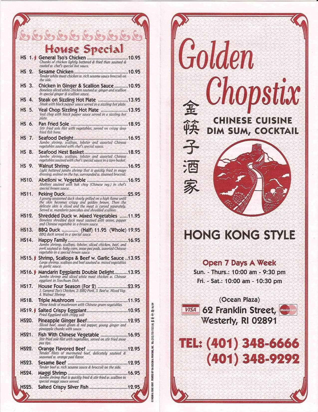 Golden Chopstix Menu Menu For Golden Chopstix Westerly