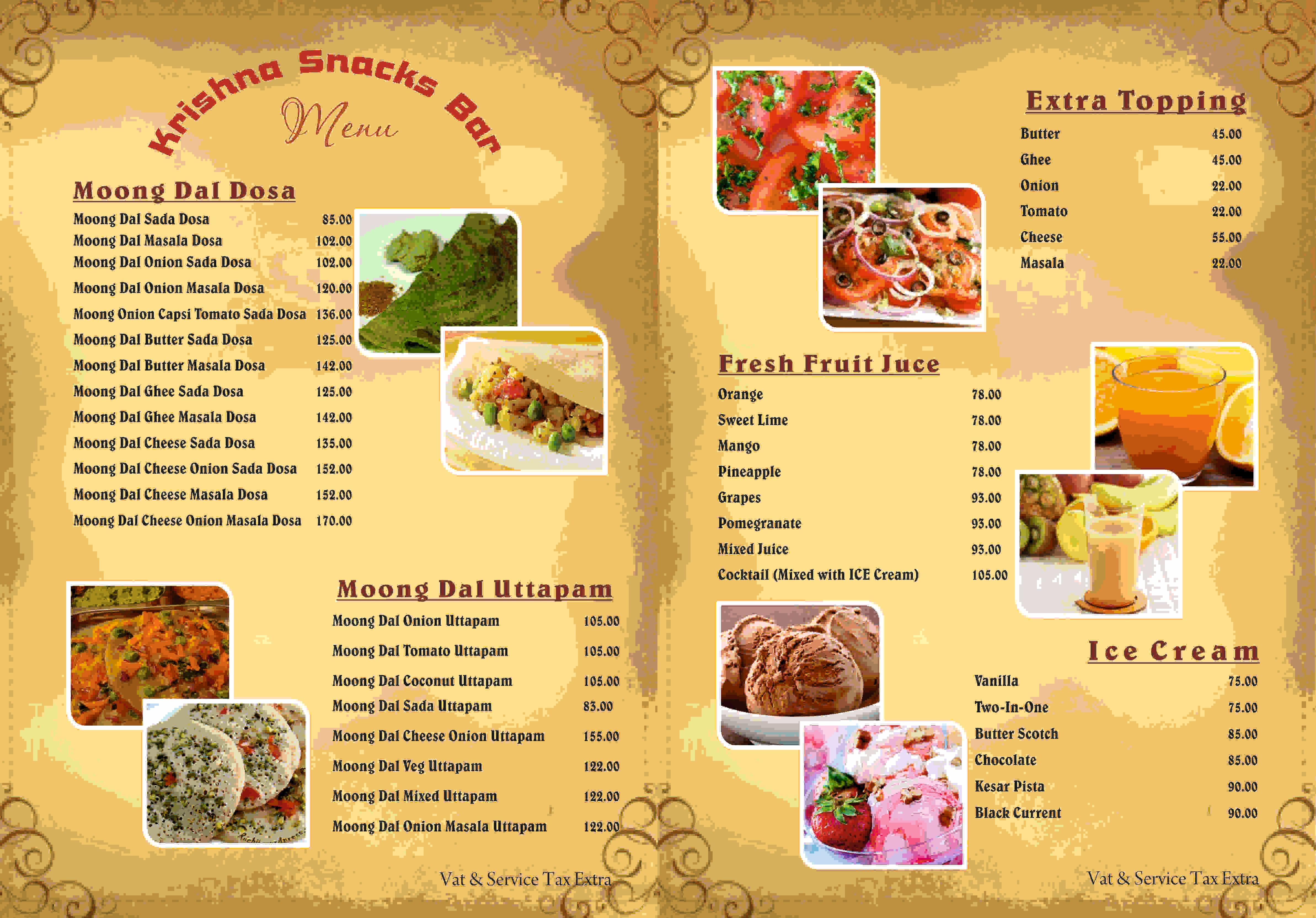 Krishna snacks bar menu menu for krishna snacks bar new for Snack bar menu